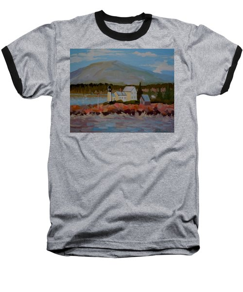 Baseball T-Shirt featuring the painting Winter Harbor Light by Francine Frank