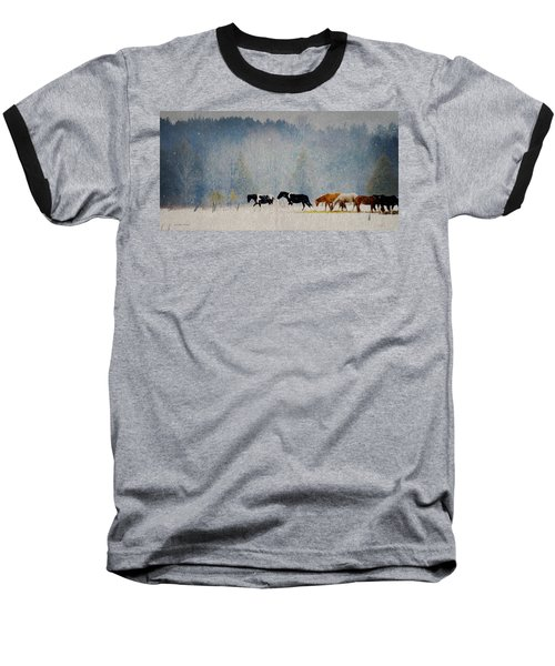 Baseball T-Shirt featuring the photograph Winter Horses by Ann Lauwers