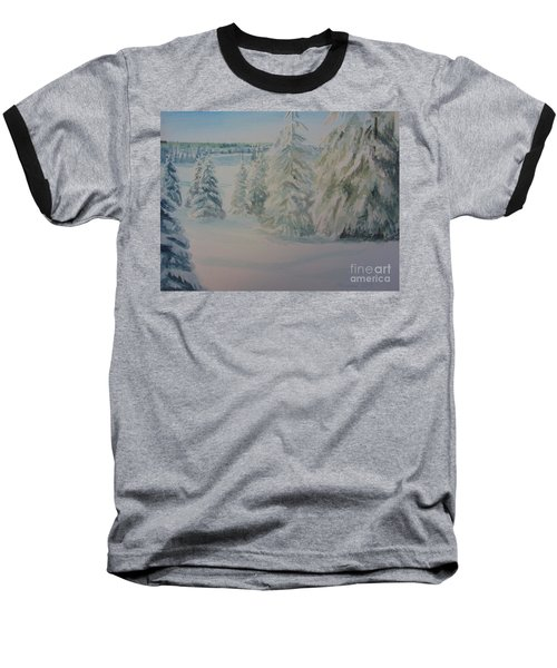 Baseball T-Shirt featuring the painting Winter In Gyllbergen by Martin Howard