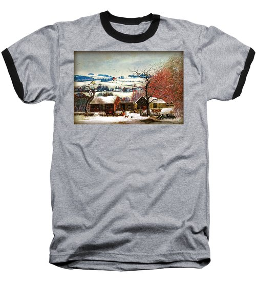 Baseball T-Shirt featuring the digital art Winter In The Country Folk Art by Lianne Schneider