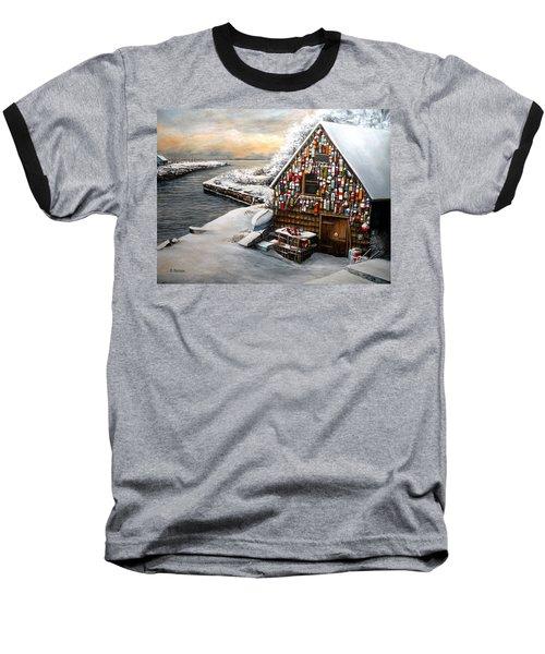 Winter Ipswich Bay Wooden Buoys  Baseball T-Shirt by Eileen Patten Oliver