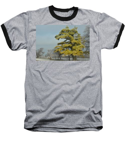 Winter Landscape Baseball T-Shirt by Debra Martz