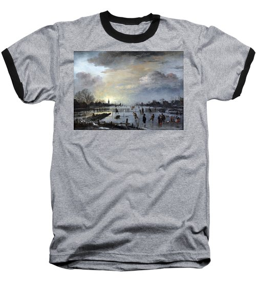 Baseball T-Shirt featuring the painting Winter Landscape With Skaters by Gianfranco Weiss