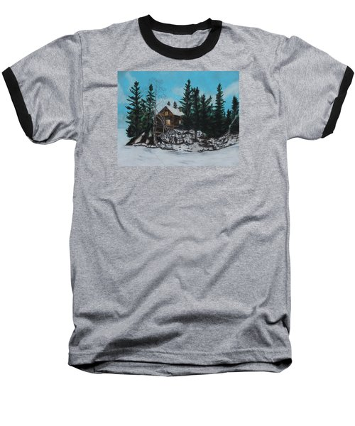 Winter Marshland Baseball T-Shirt by Jeanne Fischer