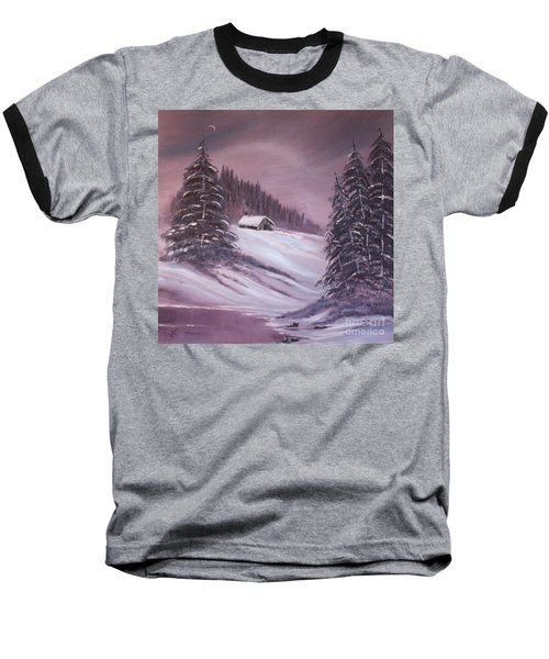 Baseball T-Shirt featuring the painting Winter Moon by Janice Rae Pariza