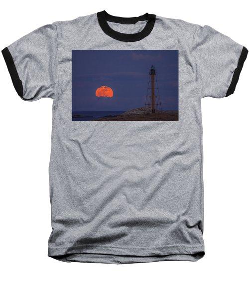 Winter Moon Rising Over Marblehead Light Baseball T-Shirt