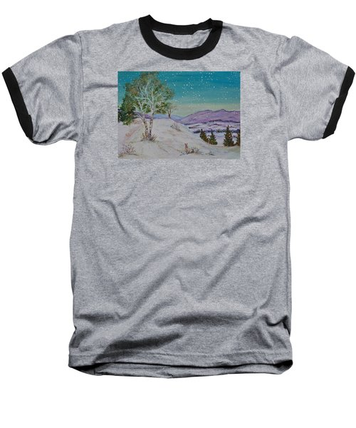 Winter Mountains With Hare Baseball T-Shirt