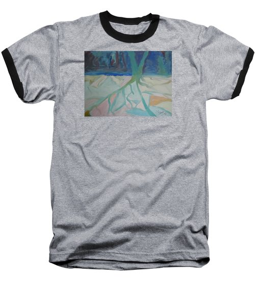Winter Night Shadows Baseball T-Shirt