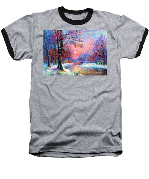 Winter Nightfall, Snow Scene  Baseball T-Shirt