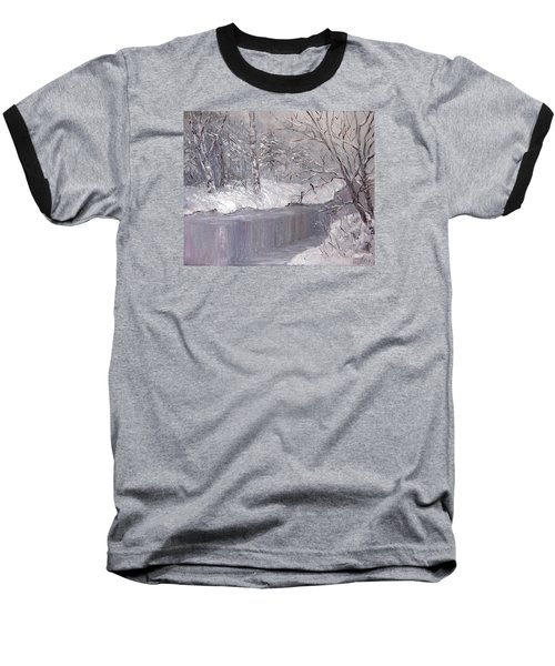 Baseball T-Shirt featuring the painting Winter by Nina Mitkova