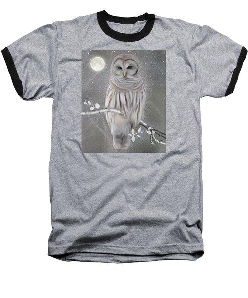 Winter Owl Baseball T-Shirt by Nina Bradica