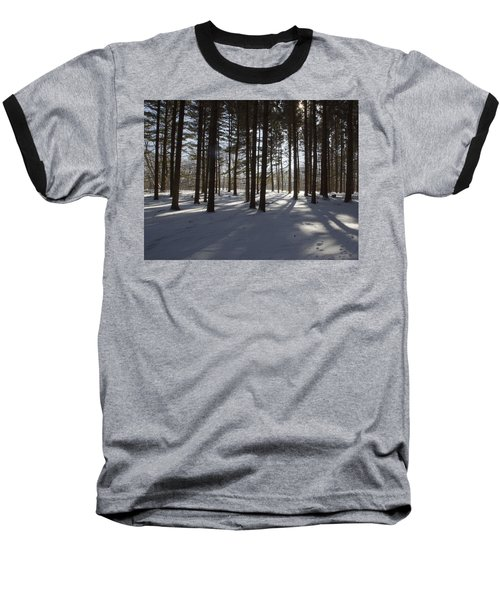 Winter Pines Baseball T-Shirt by Daniel Sheldon