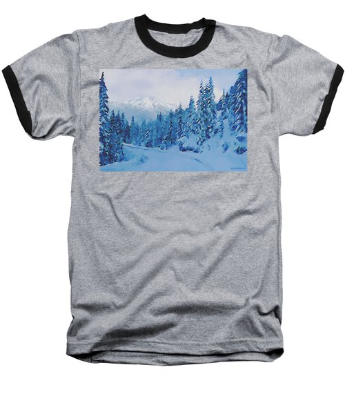 Baseball T-Shirt featuring the painting Winter Road by Sophia Schmierer