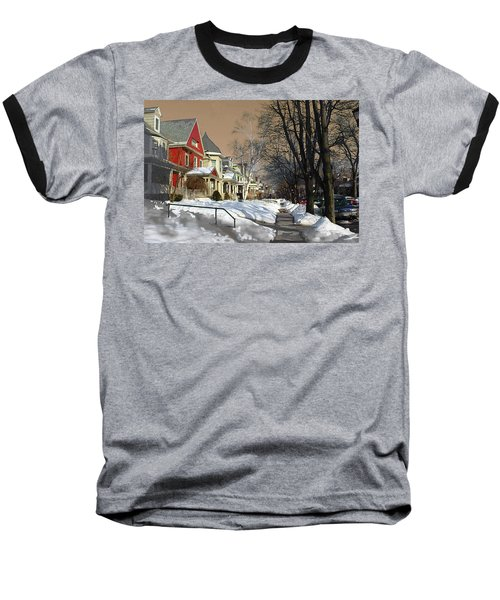 Baseball T-Shirt featuring the pyrography Winter Scenery  by Viola El
