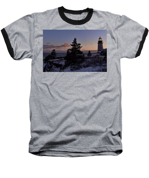 Winter Sentinel Lighthouse Baseball T-Shirt