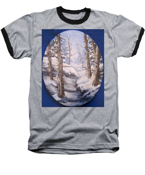 Baseball T-Shirt featuring the painting Winter Snow by Megan Walsh