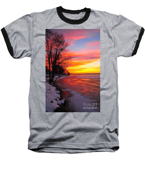 Baseball T-Shirt featuring the photograph Winter Sunrise On Lake Cadillac by Terri Gostola