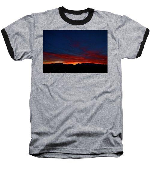 Winter Sunset Baseball T-Shirt by Jeremy Rhoades