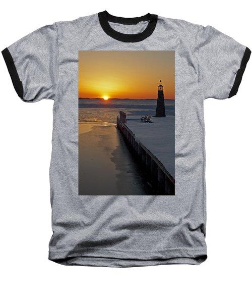 Baseball T-Shirt featuring the photograph Winter Sunset On Lake Winneconne by Judy  Johnson