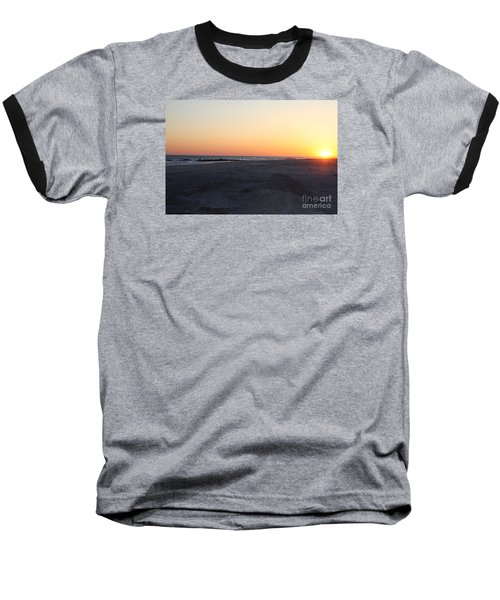 Winter Sunset On Long Beach Baseball T-Shirt by John Telfer