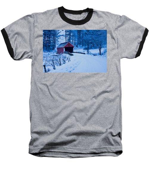winter Vermont covered bridge Baseball T-Shirt by Jeff Folger