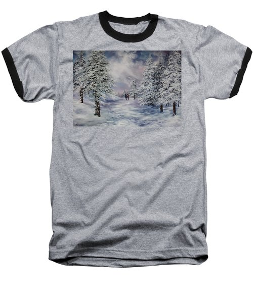 Baseball T-Shirt featuring the painting Winter Walk On Cannock Chase by Jean Walker