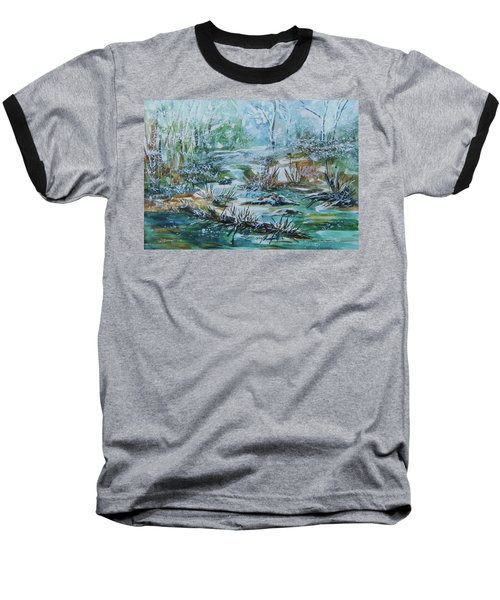Baseball T-Shirt featuring the painting Winter Whispers On Catskill Creek by Ellen Levinson