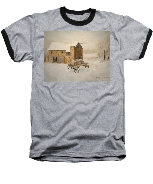 Baseball T-Shirt featuring the painting Winter Wine by Alan Lakin