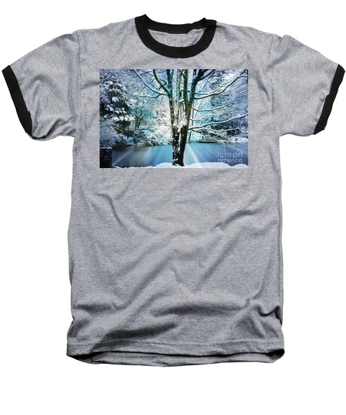 Baseball T-Shirt featuring the photograph Winter Wonderland by Judy Palkimas