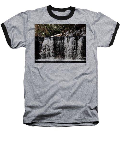 Winter Woodland Waterfall Baseball T-Shirt