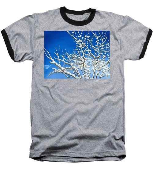 Baseball T-Shirt featuring the painting Winter's Artistry by Barbara Jewell