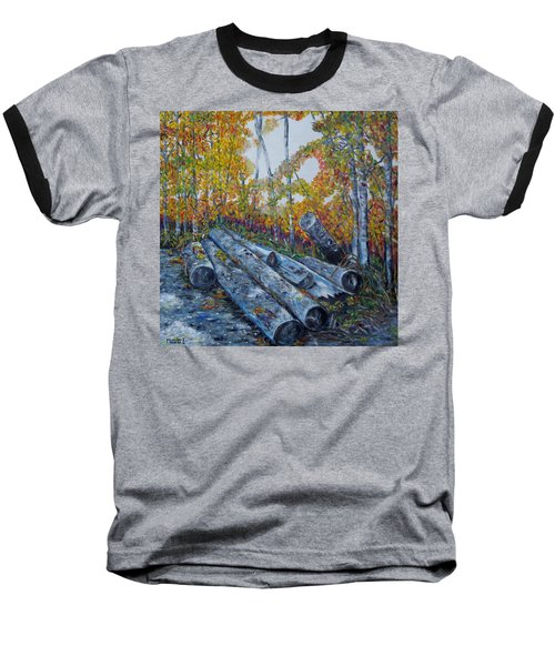 Baseball T-Shirt featuring the painting Winter's Firewood by Marilyn  McNish