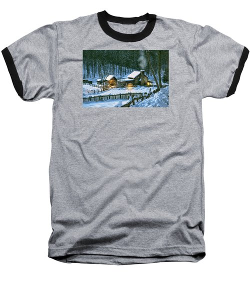 Baseball T-Shirt featuring the digital art Winter's Haven by Mary Almond