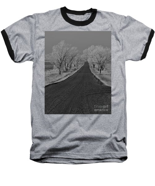 A Rural Winter's Road Baseball T-Shirt