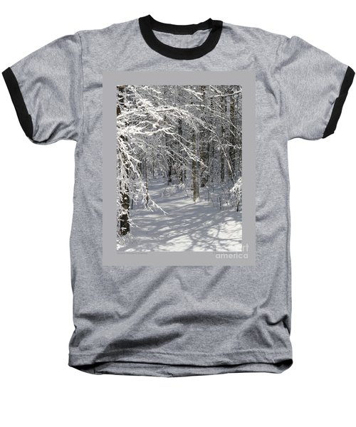 Baseball T-Shirt featuring the photograph Wintery Woodland Shadows by Patricia Overmoyer