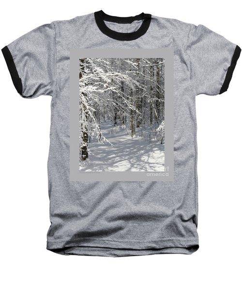 Wintery Woodland Shadows Baseball T-Shirt by Patricia Overmoyer
