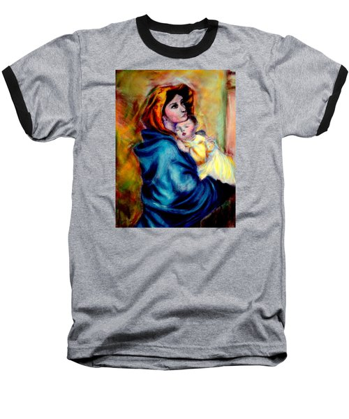 Baseball T-Shirt featuring the pastel Mondonna Of The Street By Roberto Ferrizzi, Rendition In Pastel Antonia Citrino,  Sold.        by Antonia Citrino