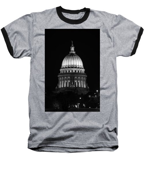 Wisconsin State Capitol Building At Night Black And White Baseball T-Shirt