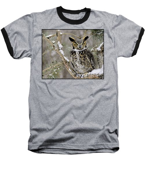 Wise Old Great Horned Owl Baseball T-Shirt