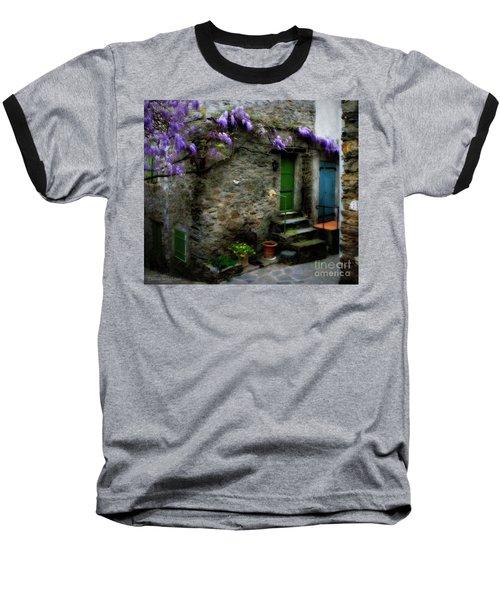 Wisteria On Stone House Baseball T-Shirt
