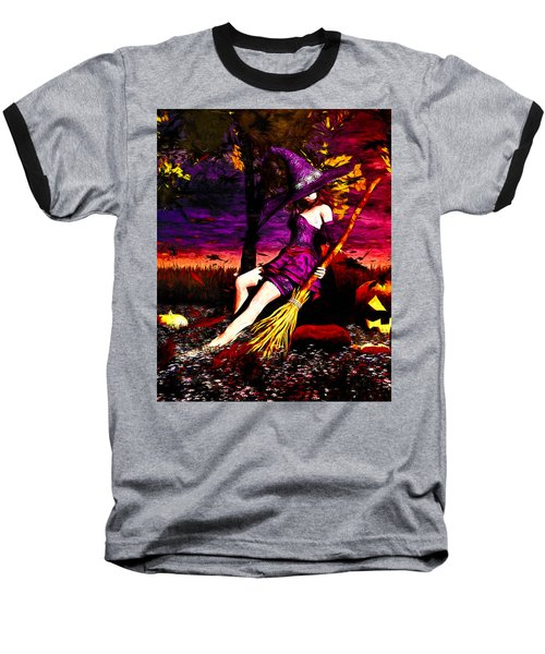Witch In The Pumpkin Patch Baseball T-Shirt by Bob Orsillo