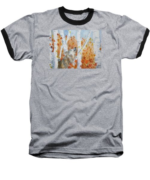 Baseball T-Shirt featuring the painting Wolf Call by Ellen Levinson