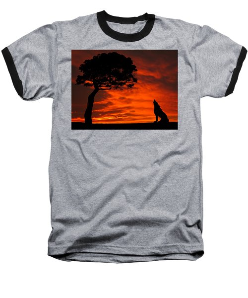 Wolf Calling For Mate Sunset Silhouette Series Baseball T-Shirt