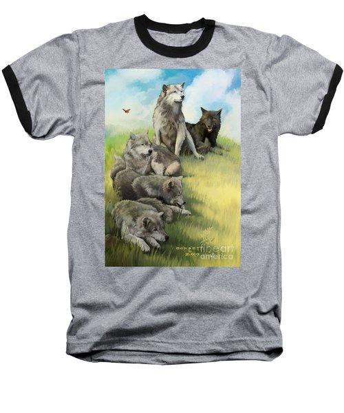 Wolf Gathering Lazy Baseball T-Shirt