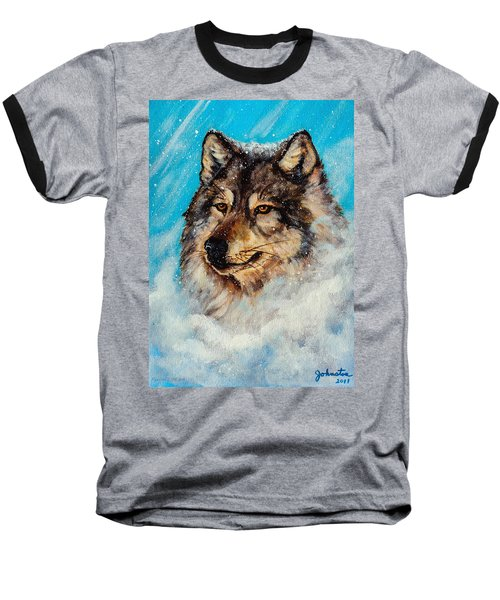 Baseball T-Shirt featuring the painting Wolf In A Snow Storm by Bob and Nadine Johnston