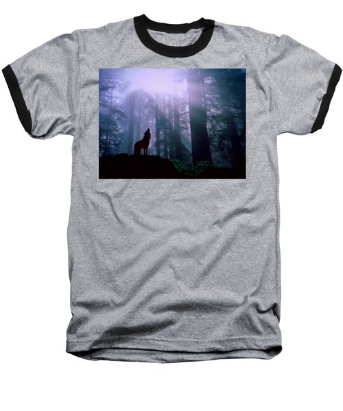 Wolf In The Woods Baseball T-Shirt