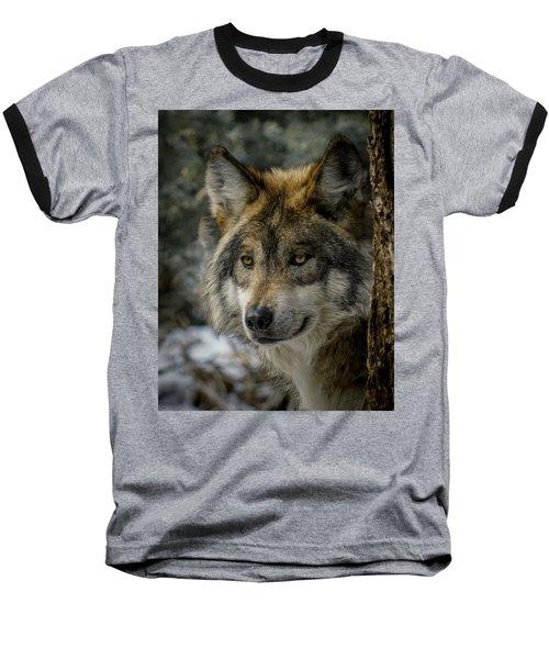 Wolf Upclose 2 Baseball T-Shirt