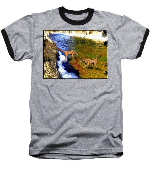 Baseball T-Shirt featuring the digital art Wolves by Daniel Janda