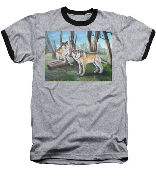Baseball T-Shirt featuring the painting Wolves In The Forest by Thomas J Herring