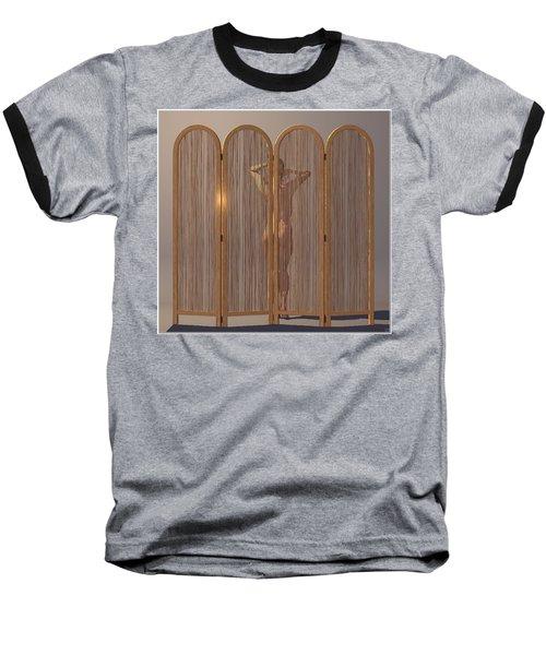 Baseball T-Shirt featuring the digital art Woman Behind Screen... by Tim Fillingim